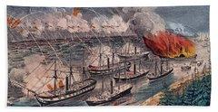 Admiral Farragut's Fleet Engaging The Rebel Batteries At Port Hudson Beach Sheet by American School