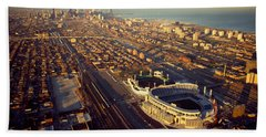 Aerial View Of A City, Old Comiskey Beach Towel by Panoramic Images
