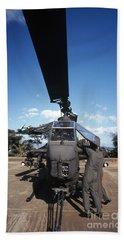 Air Crewmen Secure An Ah-1 Cobra Attack Beach Sheet by Michael Wood