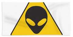 Alien Grey Graphic Beach Towel by Pixel Chimp