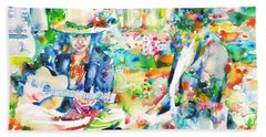 Allen Ginsberg And Bob Dylan - Watercolor Portrait Beach Towel by Fabrizio Cassetta