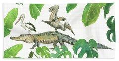 Alligator And Pelicans Beach Sheet by Juan Bosco