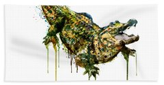 Alligator Watercolor Painting Beach Towel by Marian Voicu
