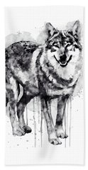 Alpha Wolf Black And White Beach Sheet by Marian Voicu