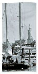 America II And The Statue Of Liberty Beach Sheet by Sandy Taylor