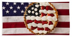 American Pie On American Flag  Beach Towel by Garry Gay
