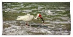 American White Ibis Beach Sheet by Chrystal Mimbs