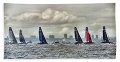 America's Cup Contestants In New York Harbor, May 2016 Beach Sheet by Sandy Taylor