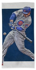 Anthony Rizzo Chicago Cubs Art 1 Beach Towel by Joe Hamilton