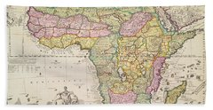 Antique Map Of Africa Beach Towel by Pieter Schenk