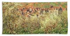 Apple Trees In Blossom Beach Towel by Claude Monet