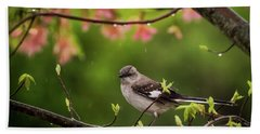 April Showers Bring May Flowers Mocking Bird Beach Towel by Terry DeLuco