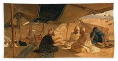Arabs In The Desert Beach Sheet by Frederick Goodall
