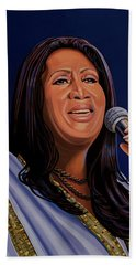 Aretha Franklin Painting Beach Sheet by Paul Meijering