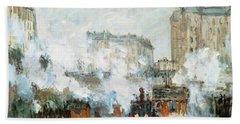 Arrival Of A Train Beach Towel by Claude Monet