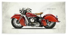 Indian Sport Scout 1940 Beach Towel by Mark Rogan