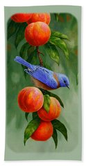 Bluebird And Peaches Greeting Card 1 Beach Towel by Crista Forest