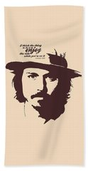 Johnny Depp Minimalist Poster Beach Towel by Lab No 4 - The Quotography Department