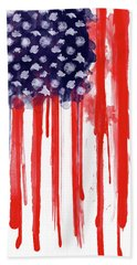 American Spatter Flag Beach Towel by Nicklas Gustafsson