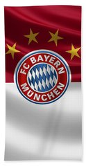 F C Bayern Munich - 3 D Badge Over Flag Beach Sheet by Serge Averbukh