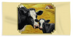 Holstein Cow And Calf Farm Beach Towel by Crista Forest