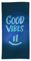 Good Vibes  Funny Smiley Statement Happy Face Blue Stars Edit Beach Towel by Philipp Rietz