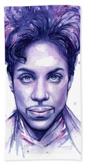 Prince Purple Watercolor Beach Towel by Olga Shvartsur