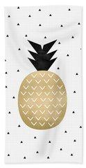 Golden Pineapple Beach Towel by Elisabeth Fredriksson