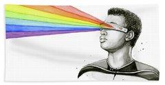 Geordi Sees The Rainbow Beach Sheet by Olga Shvartsur
