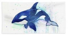 Kiler Whale Watercolor Orca  Beach Towel by Olga Shvartsur