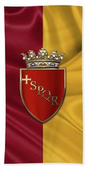 Coat Of Arms Of Rome Over Flag Of Rome Beach Towel by Serge Averbukh