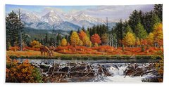 Western Mountain Landscape Autumn Mountain Man Trapper Beaver Dam Frontier Americana Oil Painting Beach Sheet by Walt Curlee