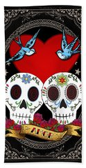 Love Skulls II Beach Towel by Tammy Wetzel