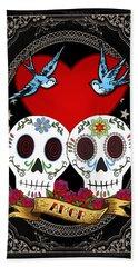 Love Skulls II Beach Sheet by Tammy Wetzel