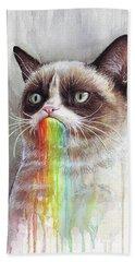 Grumpy Cat Tastes The Rainbow Beach Sheet by Olga Shvartsur