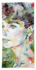 Audrey Hepburn  Watercolor Portrait.4 Beach Towel by Fabrizio Cassetta