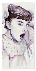 Audrey - Purple Scream Beach Towel by Olga Shvartsur