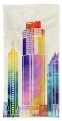 Austin Landmarks Watercolor Poster Beach Towel by Pablo Romero
