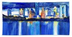 Austin Skyline At Sunset Beach Towel by Carlin Blahnik