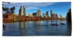 Austin Skyline From Lou Neff Point Beach Towel by Judy Vincent