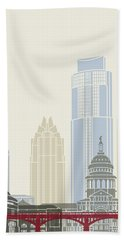 Austin Skyline Poster Beach Towel by Pablo Romero