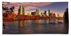 Austin Skyline Sunset Beach Sheet by Judy Vincent