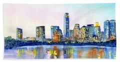 Austin Texas Skyline Beach Towel by Carlin Blahnik