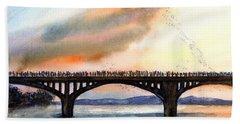 Austin, Tx Congress Bridge Bats Beach Sheet by Carlin Blahnik