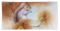 Autumn Come Softly Squirrel Beach Towel by Tracy Herrmann