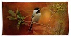 Autumn Day Chickadee Bird Art Beach Sheet by Jai Johnson