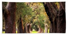 Avenue Of Oaks Sea Island Golf Club St Simons Island Beach Towel by Reid Callaway