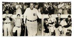 Babe Ruth At Yankee Stadium Beach Sheet by Doc Braham