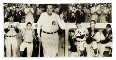 Babe Ruth At Yankee Stadium Beach Towel by Doc Braham