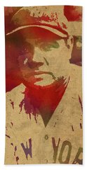 Babe Ruth Baseball Player New York Yankees Vintage Watercolor Portrait On Worn Canvas Beach Towel by Design Turnpike